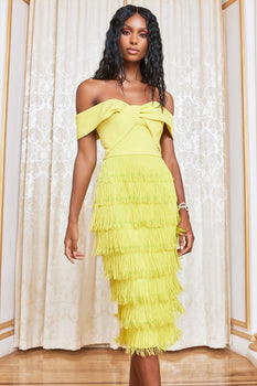 Bardot Fringe Midi Dress in Yellow Lime