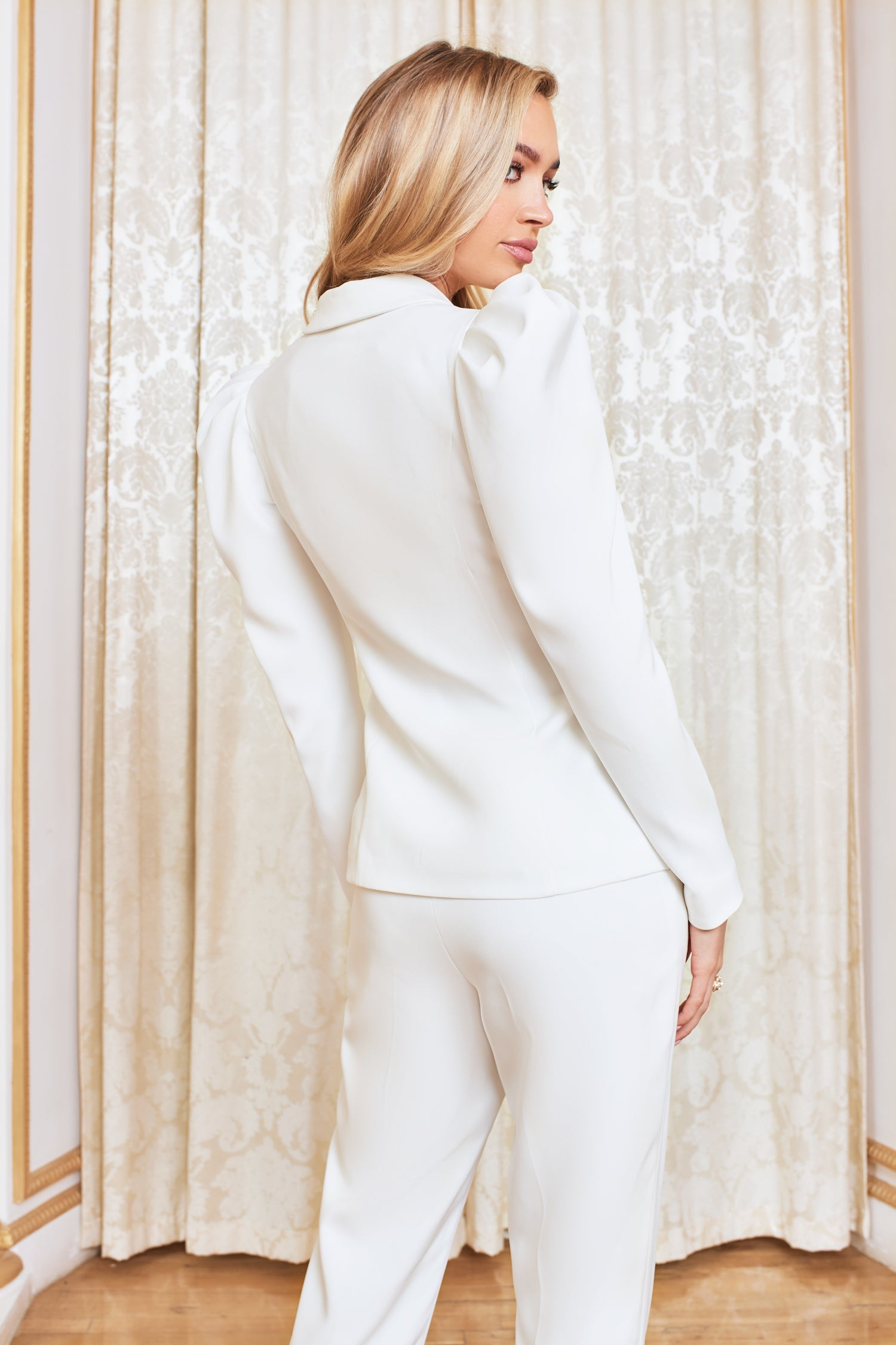 Puff Sleeve Tailored Jacket in White