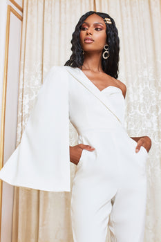 Asymmetric Cape Tailored Jumpsuit in White