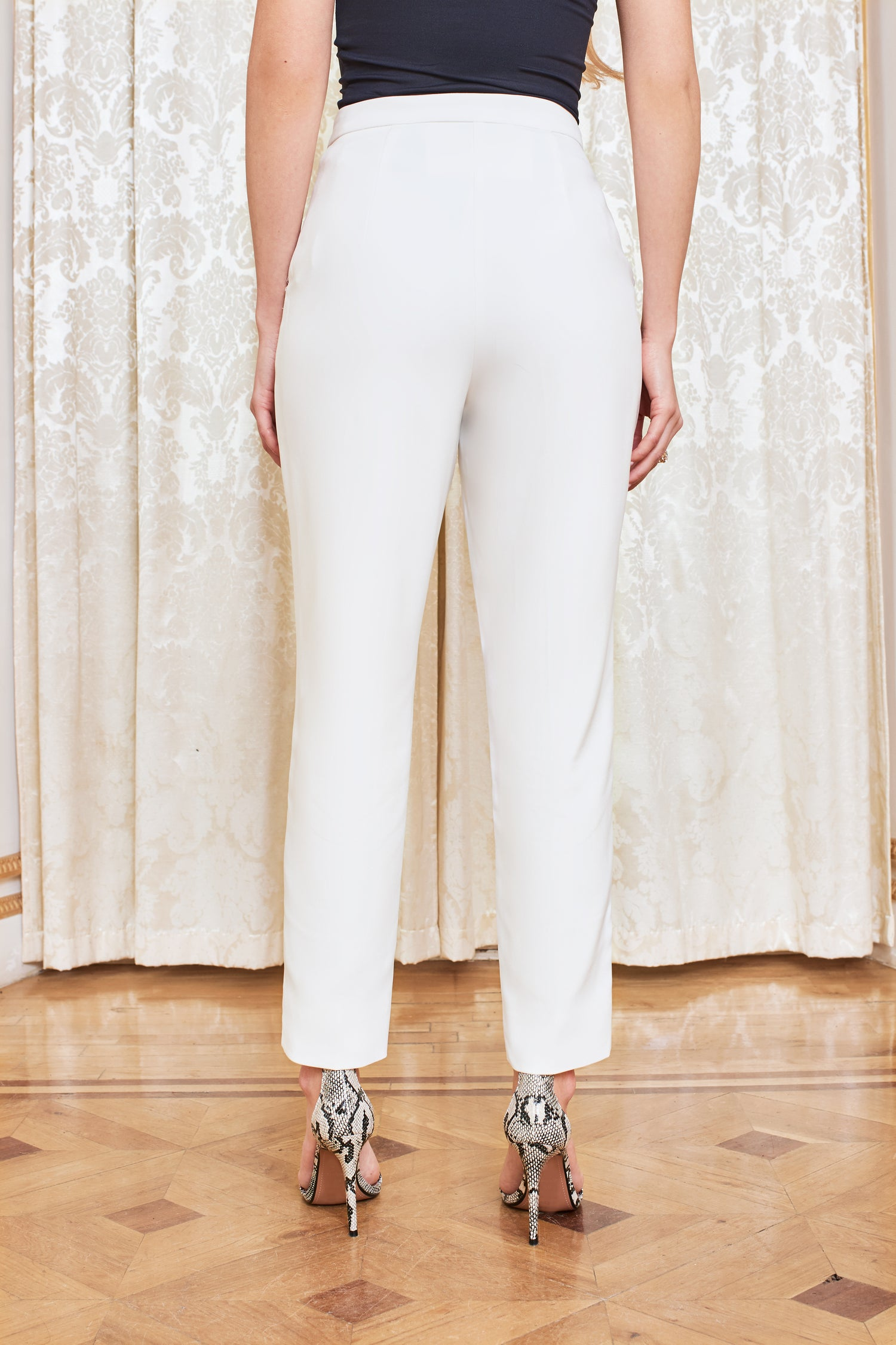 Button Detail Tapered Trousers in White
