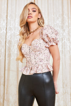 Underwired Corset Puff Sleeve Top in Beige Floral