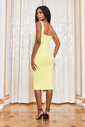 Micro Button Detail Corset Ponte Dress in Yellow Lime