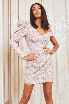 Puff Sleeve Mini Dress in Beige Floral