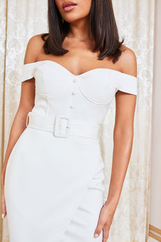 Off The Shoulder Bustier Detail Wrap Dress in White