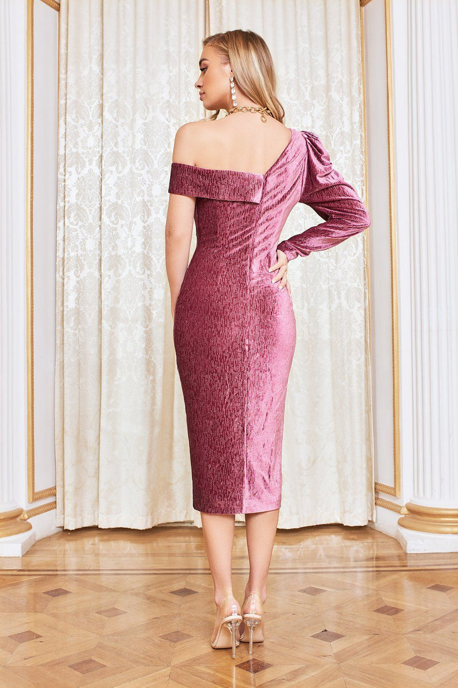 Rosie Connolly Diamante Velvet Statement Shoulder Midi Dress in Rose Pink