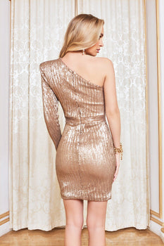 One Sleeve Sequin Mini Dress in Metallic Gold