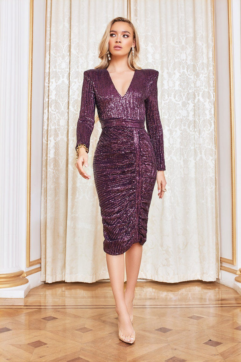 Pleated Sequin Midi Dress in Purple