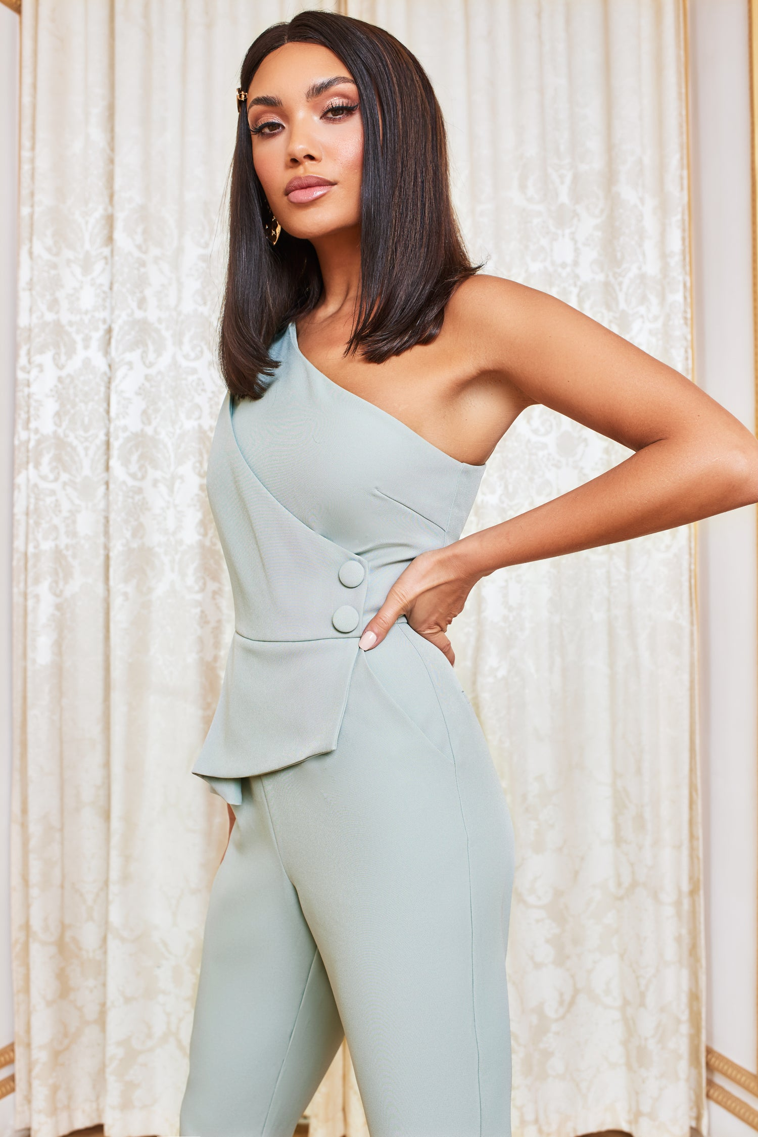 Asymmetric Button Detail Jumpsuit in Sage Green