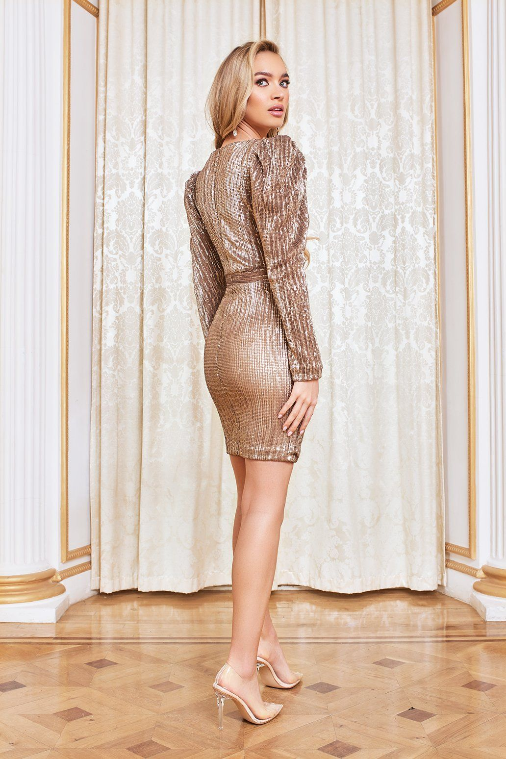 Structured Shoulder Pleated Sequin Mini Dress in Gold