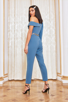 Puff Sleeve Jumpsuit in Steel Blue