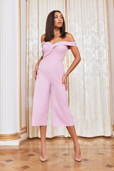Bardot Culotte Jumpsuit in Lilac