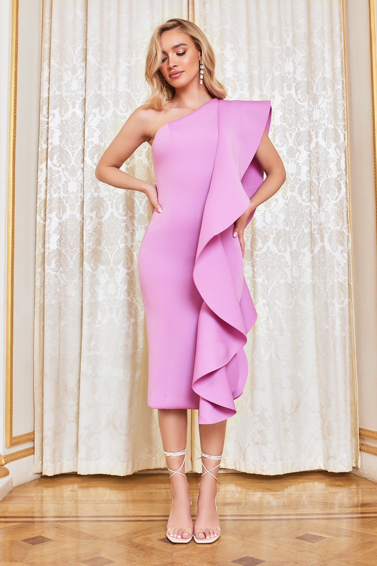 Lavish Alice One Shoulder Scuba Frill Midi Dress in Lilac