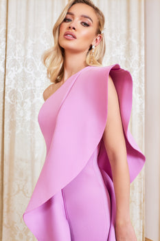 One Shoulder Scuba Frill Midi Dress in Lilac