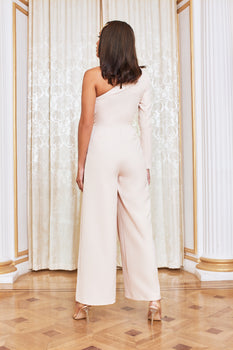 One Sleeve Wide Leg Jumpsuit in Champagne