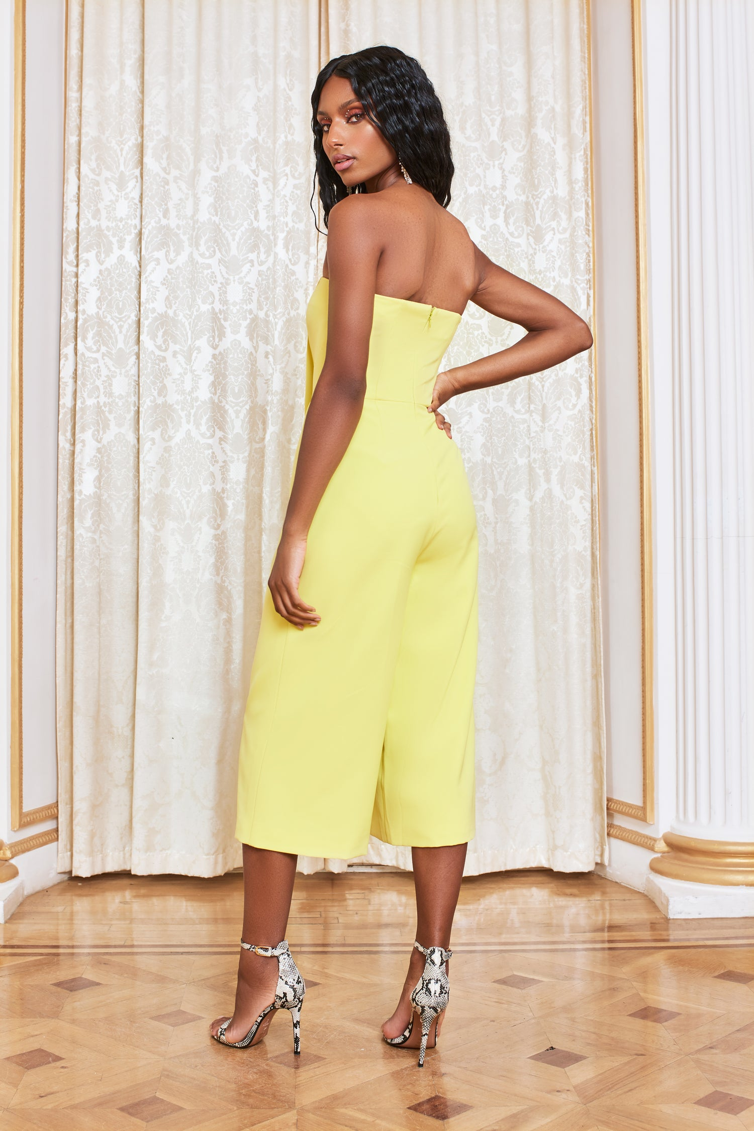 Bandeau Culotte Jumpsuit in Yellow Lime