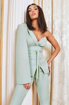 Pre-Order Obi Belted Asymmetric Cape Blazer in Sage Green
