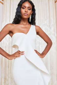 One Shoulder Scuba Frill Midi Dress in White