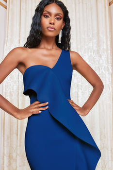 One Shoulder Scuba Frill Midi Dress in Navy Blue