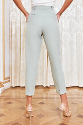 Turn Up Tapered Trousers in Sage Green