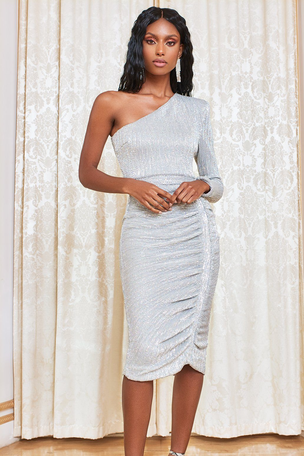 Power Shoulder Pleated Sequin Midi Dress in Metallic Silver