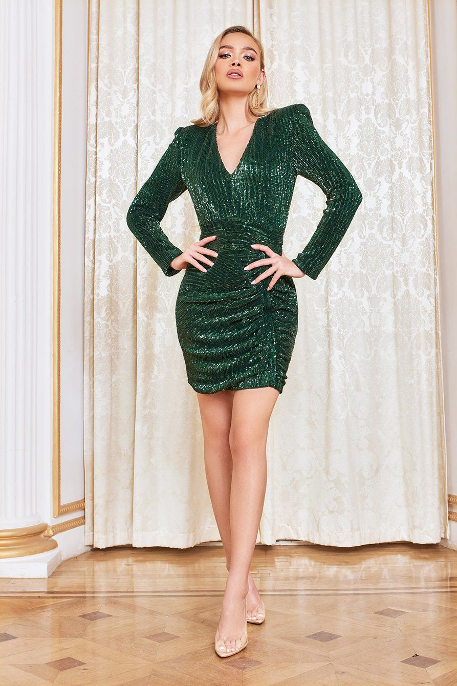 Pleated Sequin Mini Dress in Emerald Green