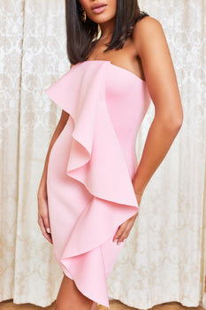 Pre-Order Bardot Frill Scuba Mini Dress in Pink