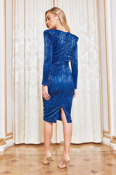 Pleated Sequin Midi Dress in Cobalt
