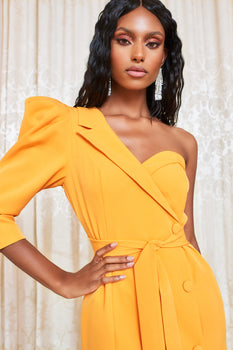One Puff Sleeve Blazer Mini Dress in Orange
