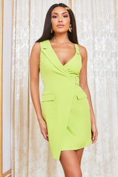 Buckle Detail Mini Blazer Dress in Lime