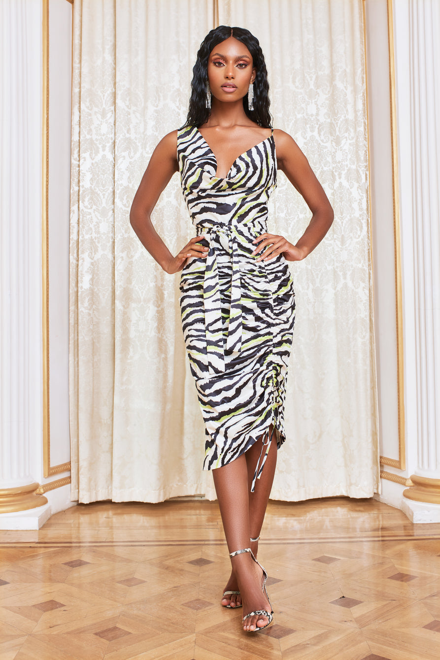 Cowl Neck Satin Cami Dress in Zebra Print