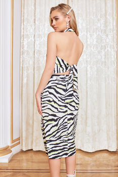 Self Tie Back Midi Dress in Zebra Print