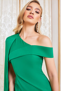 One Shoulder Half Cape Mini Dress In Emerald Green