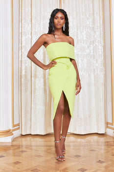 Eyelet Detail Wrap Midi Dress in Lime