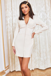 Satin Mix Corset Blazer Mini Dress in Champagne