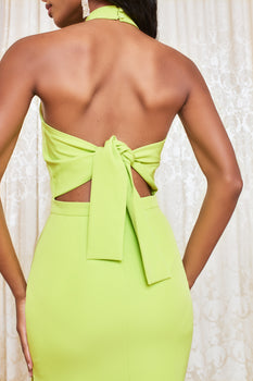 Self Tie Back Midi Dress in Lime
