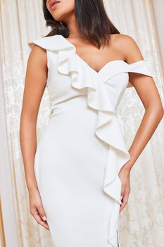 One Shoulder Ruffle Front Midi Dress in White