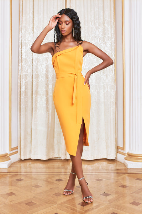 Asymmetric Bandeau Midi Dress in Orange
