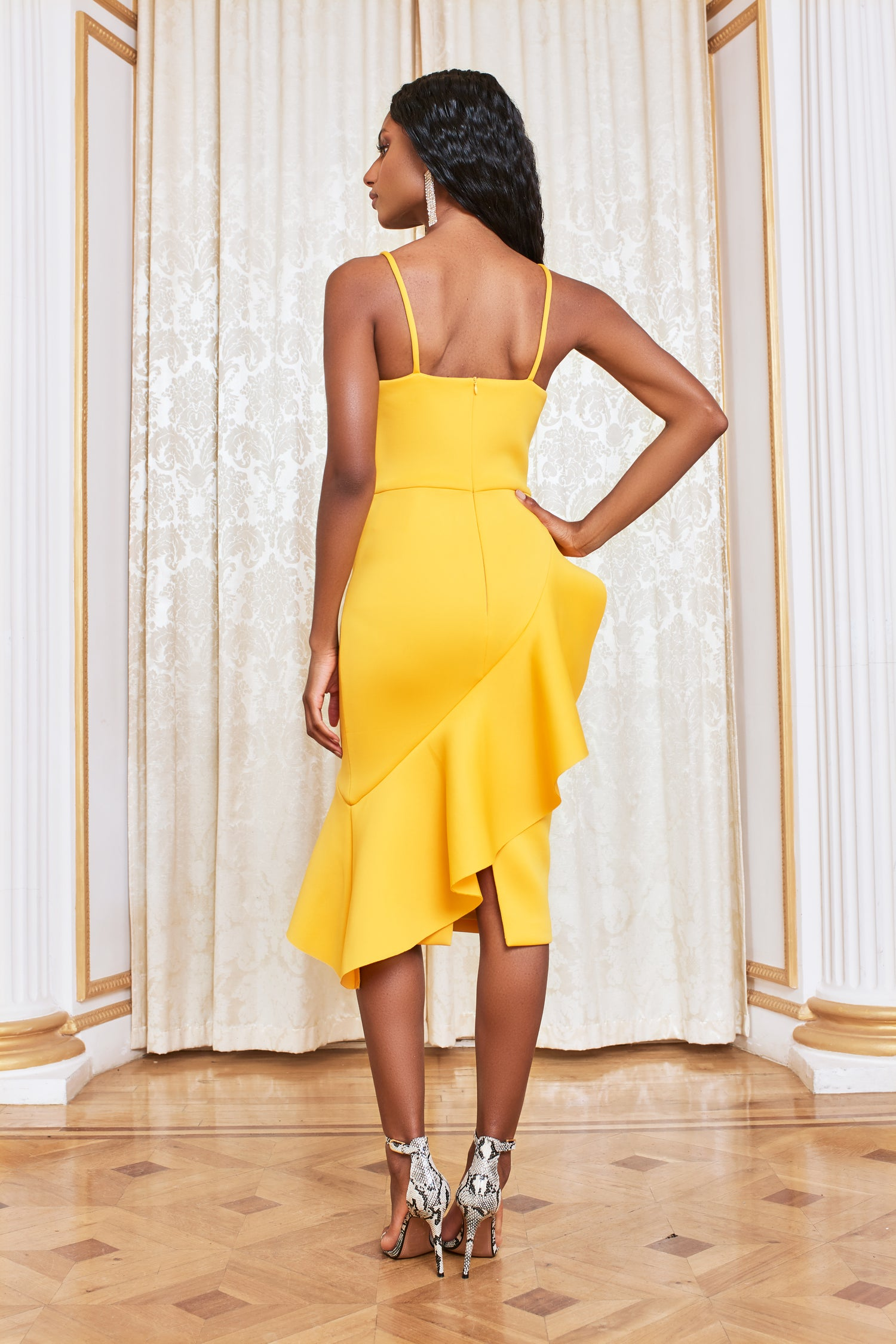 Asymmetric Ruffle Scuba Midi Dress in Golden Yellow