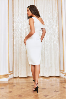 One Shoulder Diamante Trim Wrap Midi Dress in White