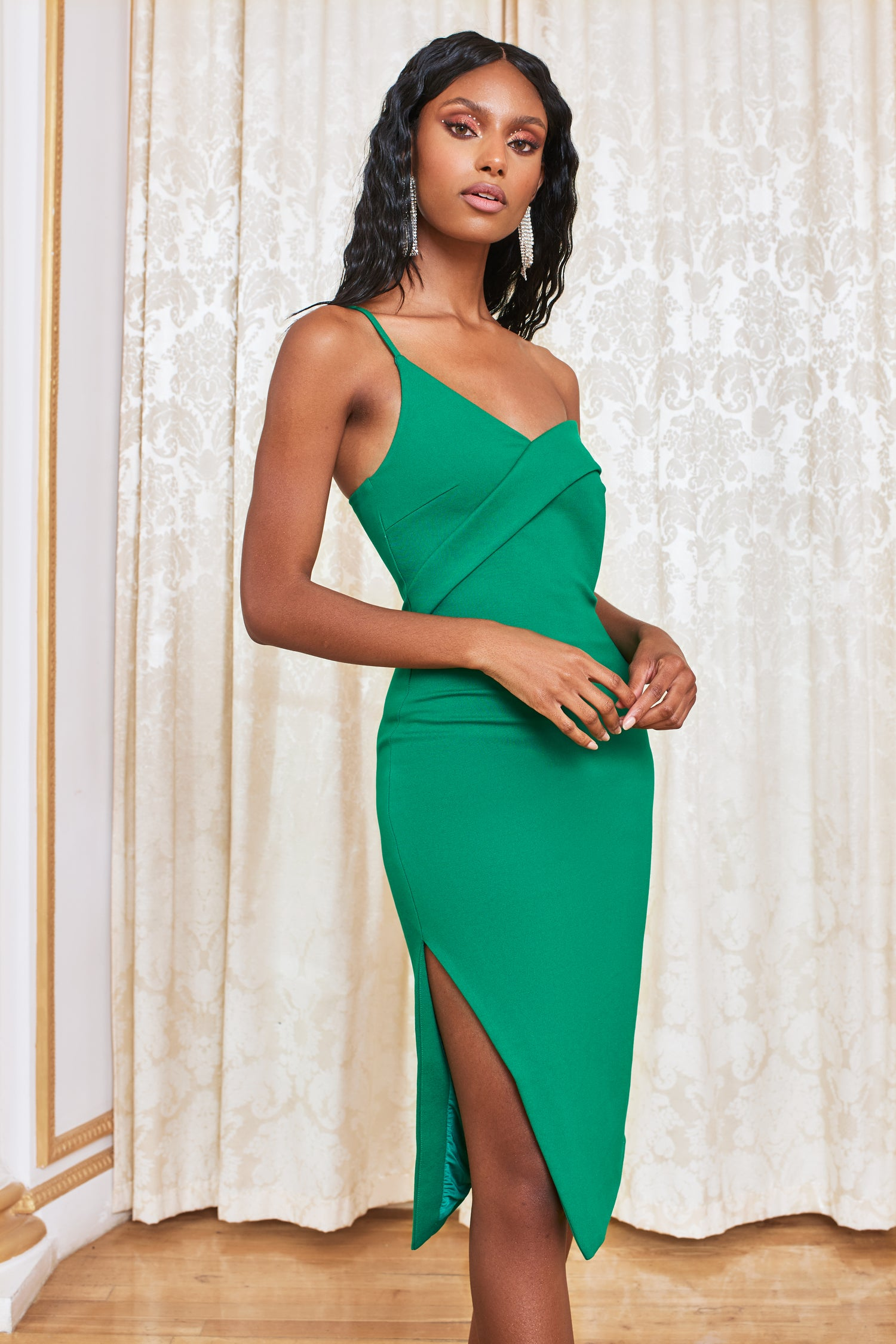 Off Shoulder Midi Dress in Emerald Green
