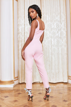 Buckle Detail Underwired Jumpsuit in Pink