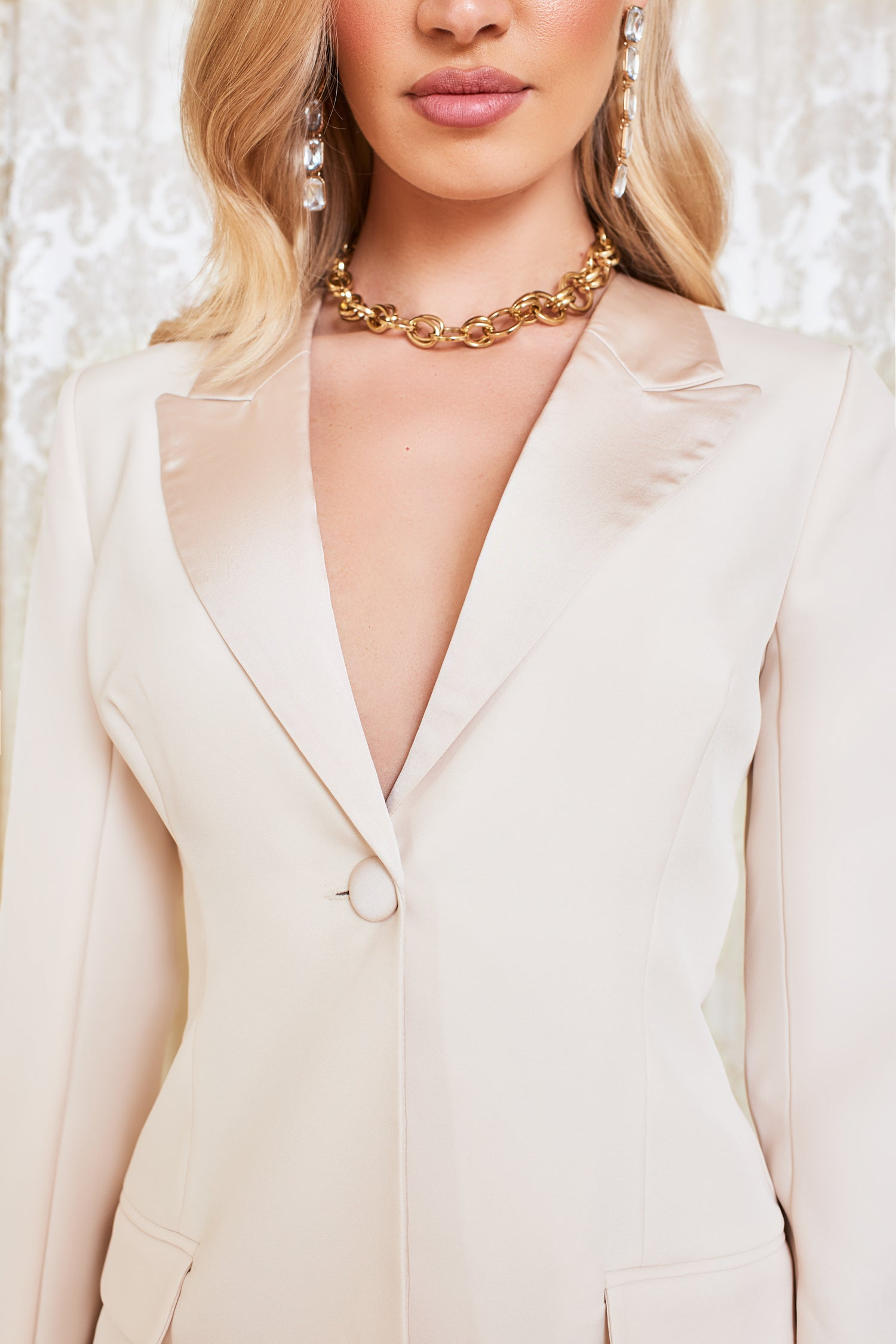 Satin Mix Longline Blazer in Champagne