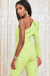 Statement One Shoulder Belted Jacket in Lime