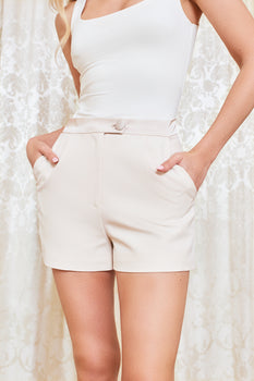 Satin Shorts in Champagne