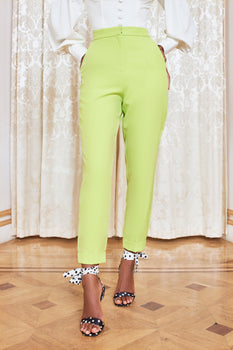 Turn Up Tapered Trouser in Lime