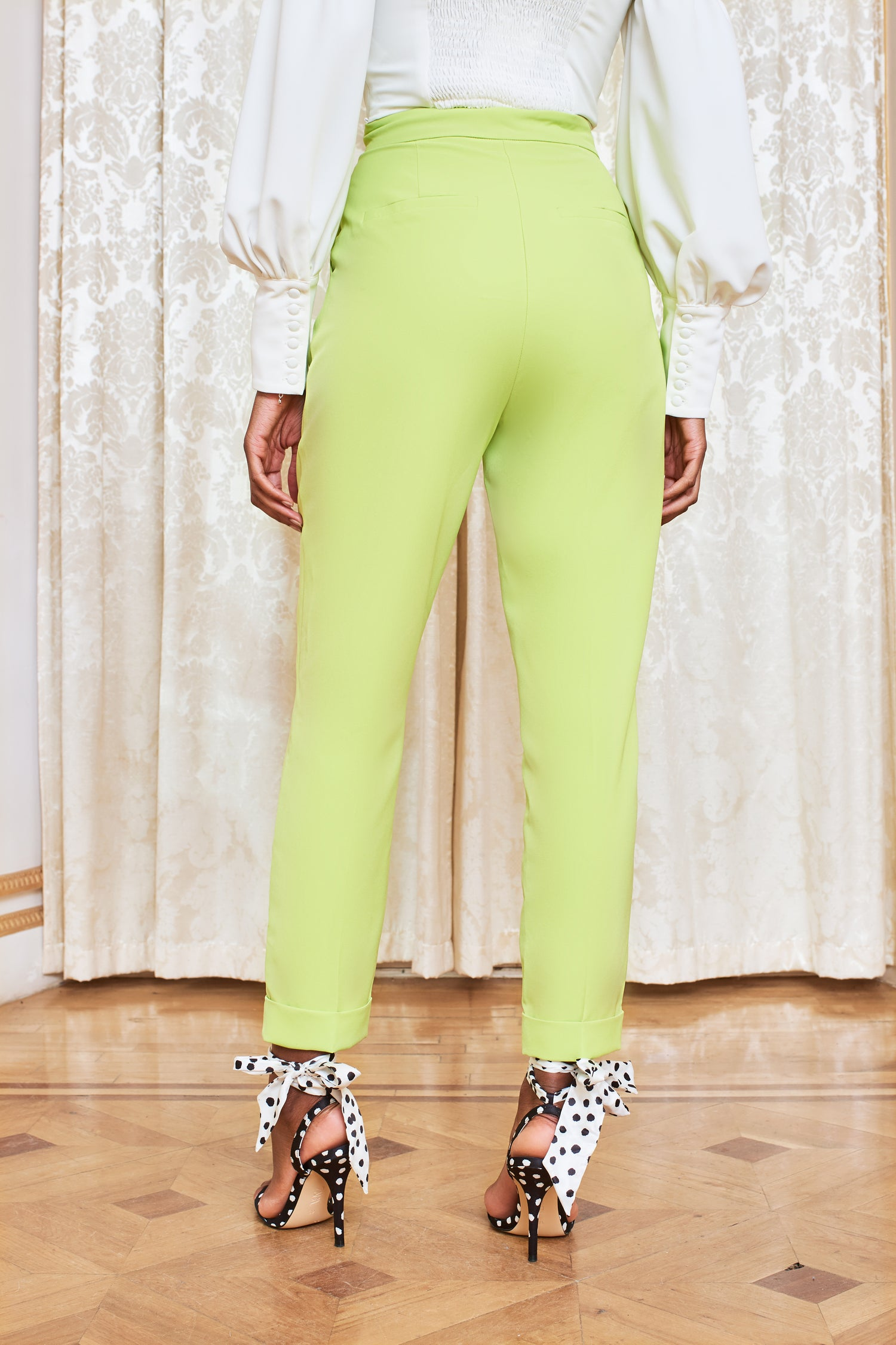 Pre-Order Turn Up Tapered Trouser in Lime