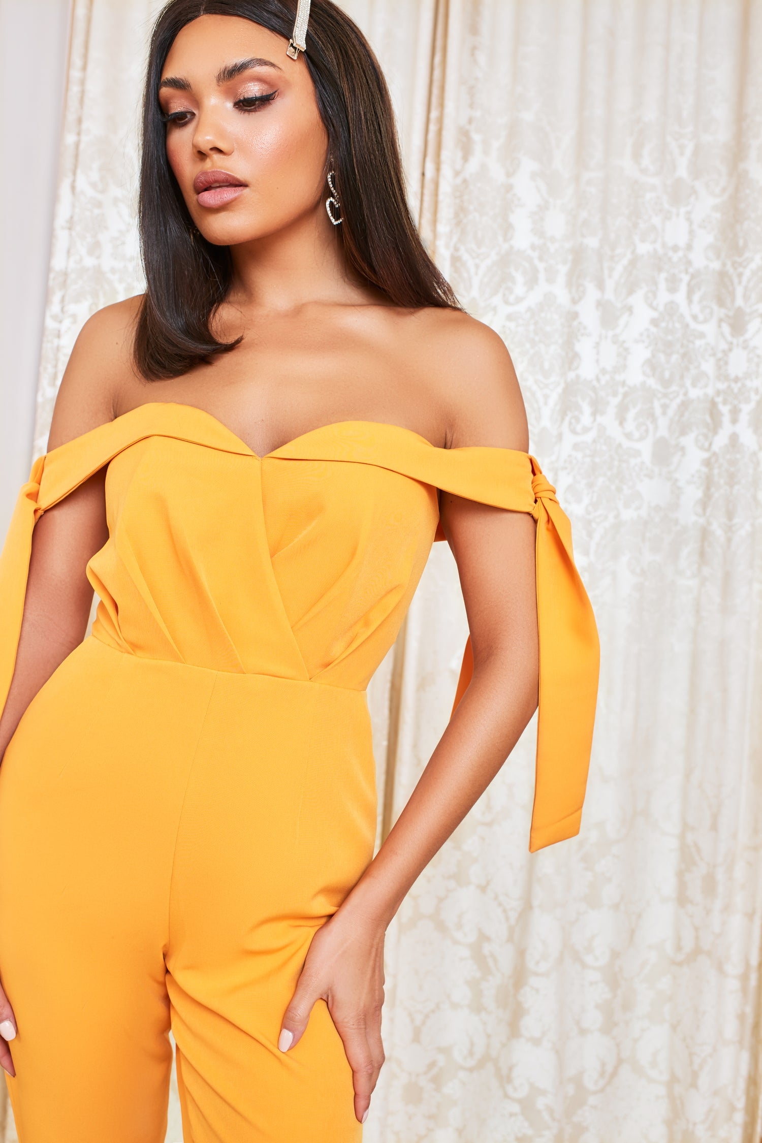 Off Shoulder Tie Sleeve Jumpsuit in Orange