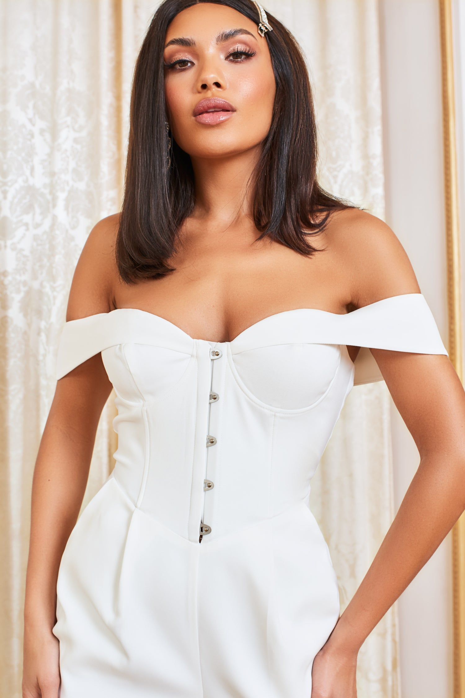 Corset Bardot Jumpsuit in White
