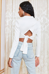 Self Tie Back Corset Blazer in White