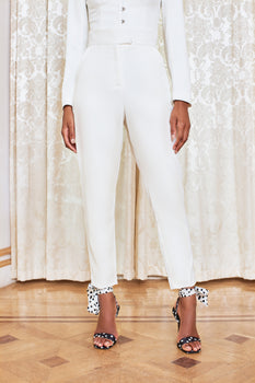 High Waisted Tailored Trousers in White